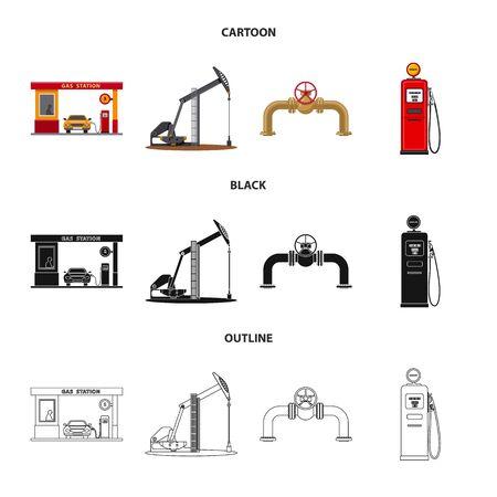 Ilustración de vector de petróleo y gas. Colección de ilustración vectorial de stock de petróleo y gasolina.