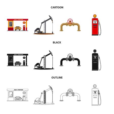 Vector illustration of oil and gas. Collection of oil and petrol stock vector illustration.