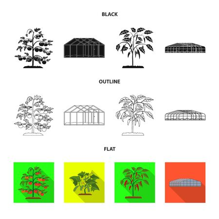 Vector design of greenhouse and plant. Set of greenhouse and garden stock symbol for web. Stock Illustratie