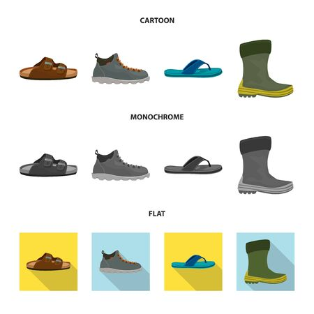 Vector design of shoe and footwear. Collection of shoe and foot stock symbol for web.