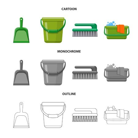 Vector design of cleaning and service sign. Set of cleaning and household stock vector illustration.