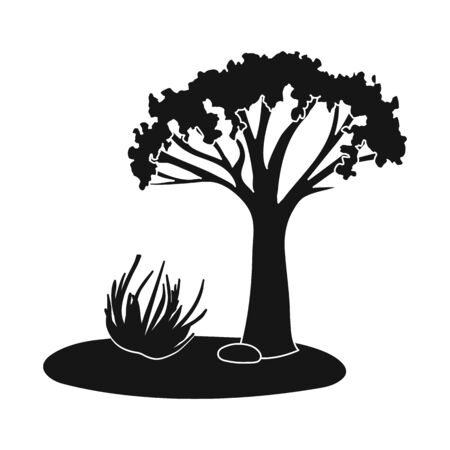 Isolated object of tree and tumbleweed. Collection of tree and western vector icon for stock.