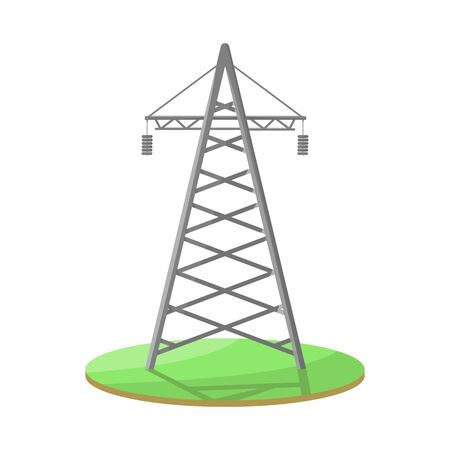Isolated object of tower and transmission. Set of tower and voltage stock symbol for web.