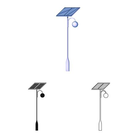 Isolated object of lamppost and solar sign. Set of lamppost and alternative stock vector illustration. Illustration