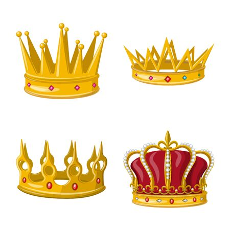 Isolated object of monarchy and gold sign. Set of monarchy and heraldic stock symbol for web.