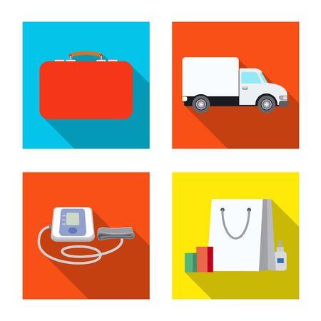 Vector illustration of pharmacy and hospital sign. Collection of pharmacy and business stock vector illustration.