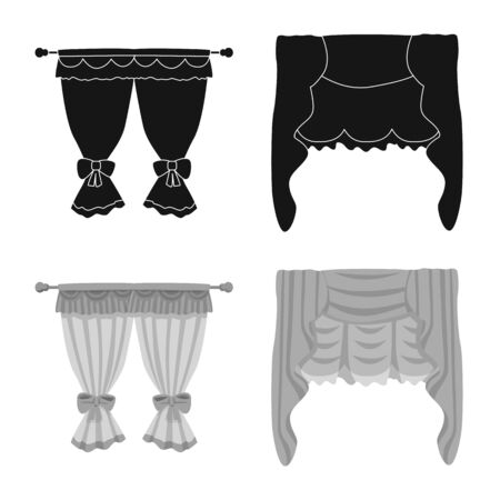 Vector design of curtains and drapes icon. Collection of curtains and blinds stock symbol for web. Illusztráció