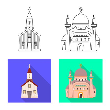 Vector illustration of cult and temple symbol. Collection of cult and parish vector icon for stock.