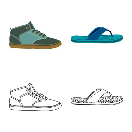 Vector illustration of shoe and footwear. Collection of shoe and foot stock symbol for web.