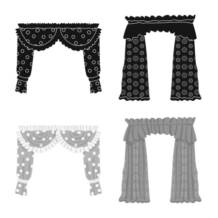 Isolated object of curtains and drapes icon. Set of curtains and blinds stock vector illustration.