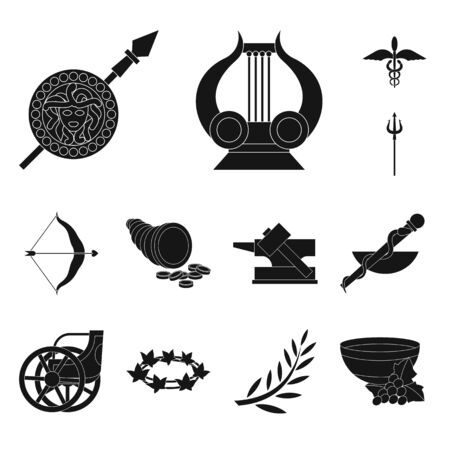 Vector illustration of religion and myths. Set of religion and greek stock symbol for web. Illustration
