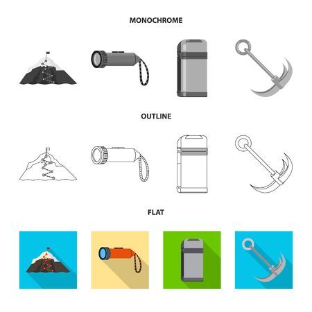 Vector illustration of mountaineering and peak symbol. Set of mountaineering and camp stock symbol for web.