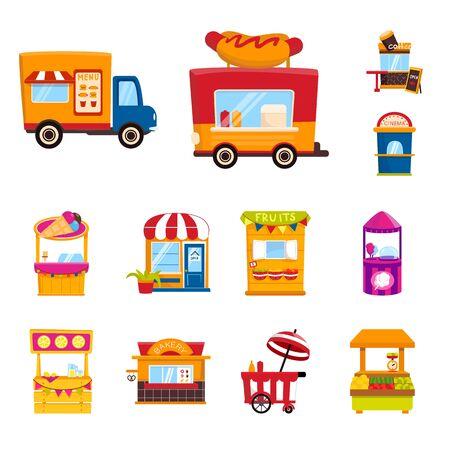 Isoliertes Objekt und Standsymbol. Sammlung und Verkauf von Vektorillustrationen auf Lager.