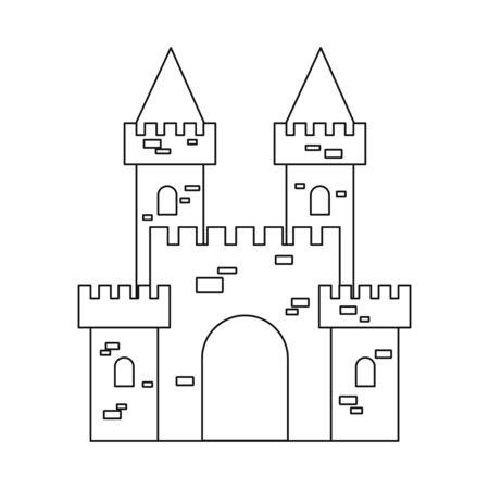 Vektordesign der Burg- und Festungsikone. Sammlung von Schloss- und Hausaktiensymbolen für das Web.