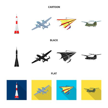 Vector illustration of plane and transport. Set of plane and sky stock symbol for web. Banque d'images - 127161123