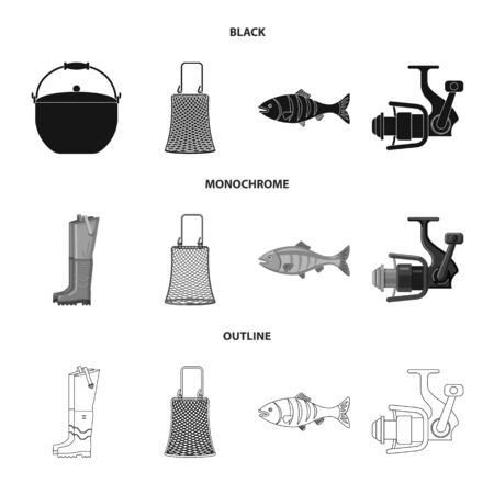 Vector illustration of fish and fishing icon. Collection of fish and equipment vector icon for stock.