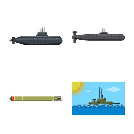 Isolated object of boat and navy icon. Collection of boat and deep stock vector illustration.