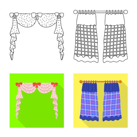 Vector design of curtains and drapes symbol. Set of curtains and blinds vector icon for stock. Illustration