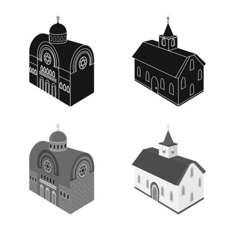 Isolated object of temple and historic. Collection of temple and faith vector icon for stock.