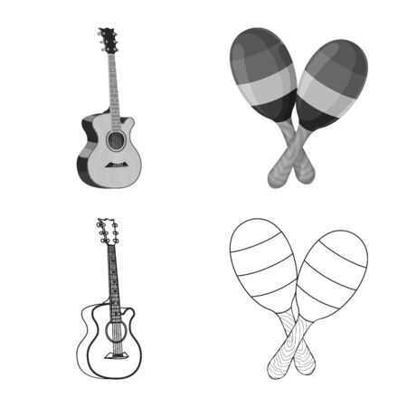 Isolated object of music and tune. Set of music and tool stock symbol for web.