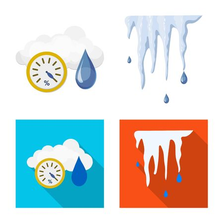 Isolated object of weather and climate sign. Collection of weather and cloud vector icon for stock. Ilustracja
