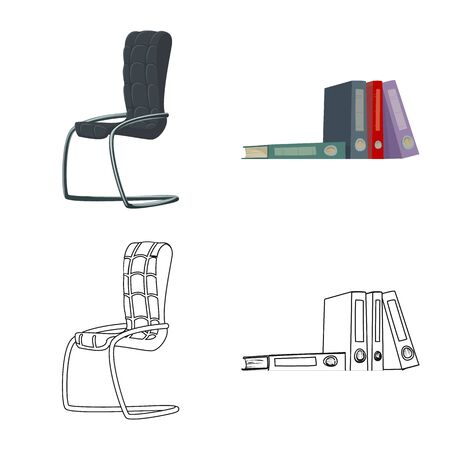 Vector illustration of furniture and work. Set of furniture and home stock vector illustration.
