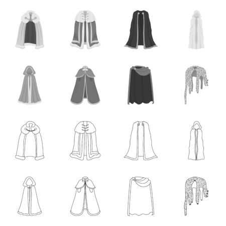 Vector illustration of material and clothing sign. Set of material and garment vector icon for stock.