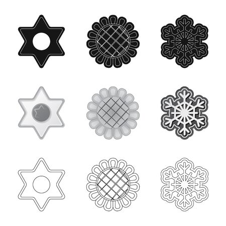 Vector illustration of biscuit and bake symbol. Collection of biscuit and chocolate stock symbol for web.