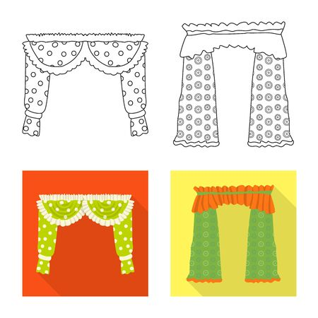 Vector design of curtains and drapes sign. Set of curtains and blinds vector icon for stock.