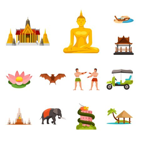 Vector illustration of thailand and travel sign. Collection of thailand and culture stock symbol for web. Illustration