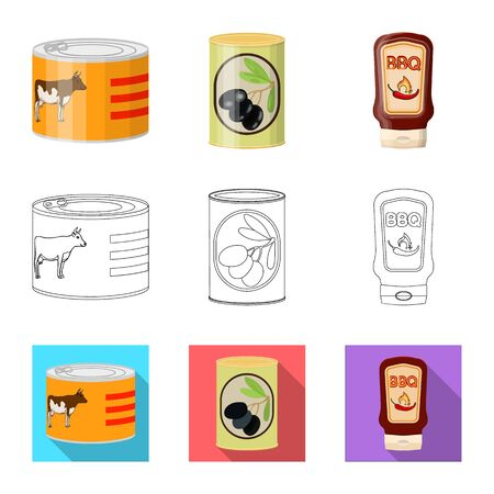 Isolated object of can and food icon. Set of can and package stock symbol for web.
