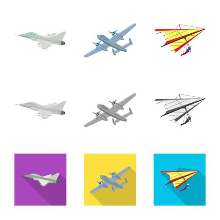 Vector design of plane and transport symbol. Collection of plane and sky stock symbol for web. Banque d'images - 127373768