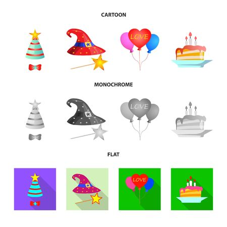 Isolated object of party and birthday. Collection of party and celebration stock vector illustration.
