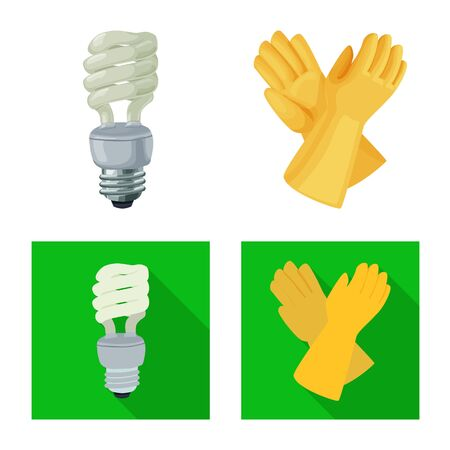 Vector design of electricity and electric sign. Set of electricity and energy vector icon for stock. Ilustração