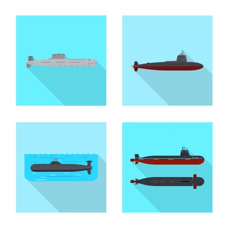 Vector design of military and nuclear logo. Set of military and ship stock vector illustration.