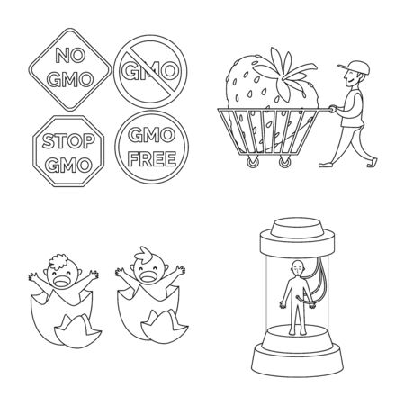 Isolated object of genetic and science icon. Collection of genetic and organic stock vector illustration.