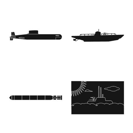 Vector illustration of technology and fleet sign. Collection of technology and navy stock symbol for web.