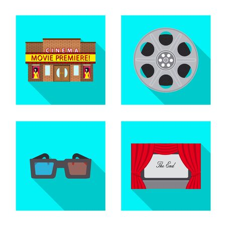 Vector illustration of television and filming icon. Set of television and viewing stock vector illustration.