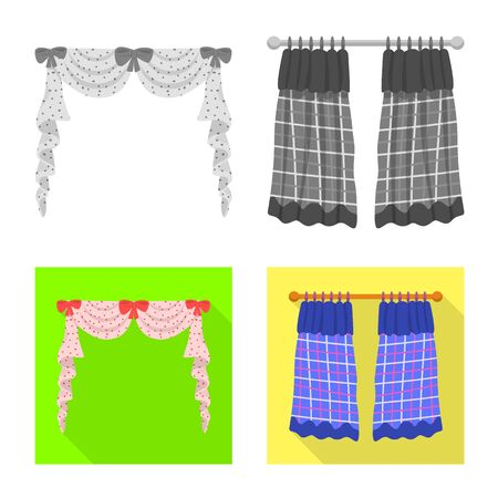 Vector illustration of curtains and drapes sign. Set of curtains and blinds vector icon for stock.
