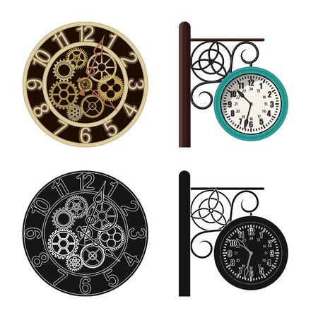 Vector design of clock and time sign. Collection of clock and circle stock symbol for web.