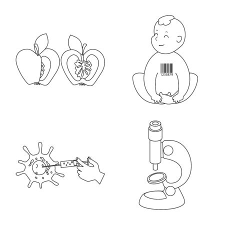 Vector design of genetic and science symbol. Set of genetic and organic vector icon for stock. Vektorové ilustrace