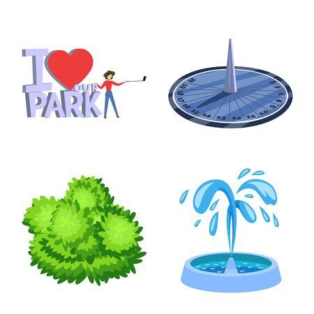 Objet isolé du paysage et signe du parc. Ensemble d'icônes vectorielles paysage et nature pour le stock.