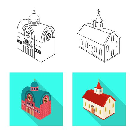 Vector design of temple and historic symbol. Collection of temple and faith vector icon for stock. Archivio Fotografico - 127350214