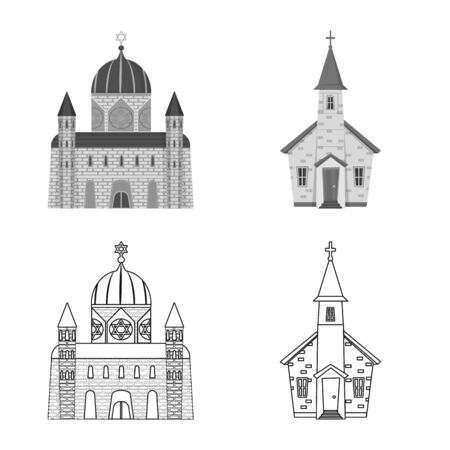 Vector design of cult and temple symbol. Collection of cult and parish vector icon for stock. Archivio Fotografico - 127350274