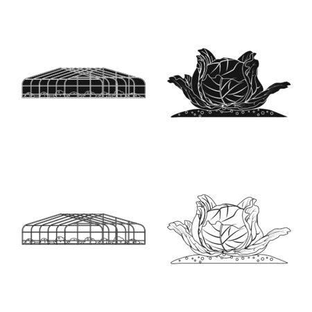 Isolated object of greenhouse and plant logo. Collection of greenhouse and garden stock vector illustration. Stock Illustratie