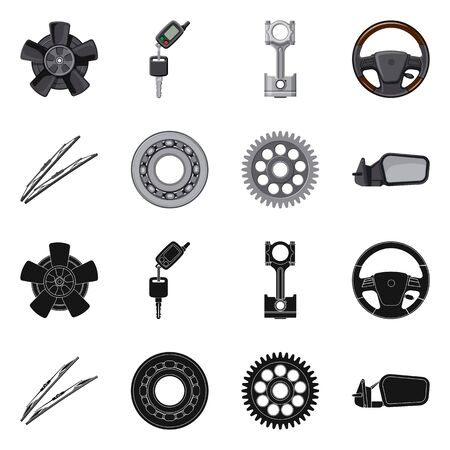 Isolated object of auto and part sign. Collection of auto and car vector icon for stock.