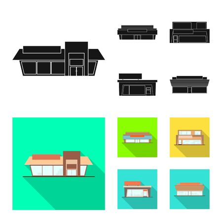 Vector design of boutique and construction symbol. Set of boutique and cityscape stock symbol for web. Illustration