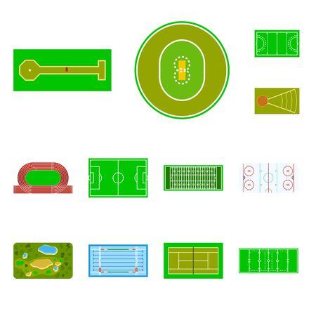 Vector illustration of field and arena logo. Collection of field and sport vector icon for stock. Standard-Bild - 127351433