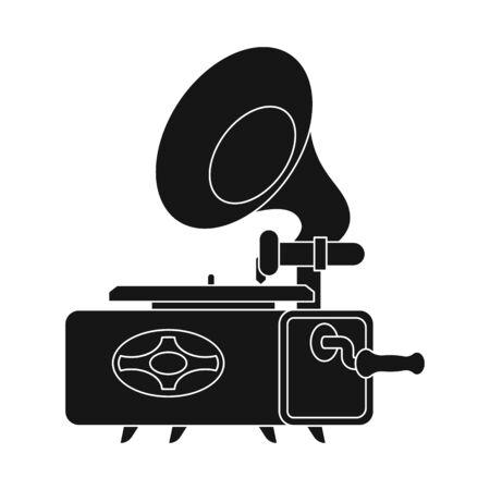Vektordesign der Grammophon- und Musikikone. Satz von Grammophon und Aktiensymbol für das Web.