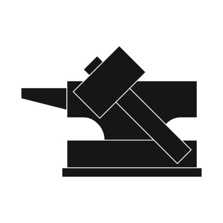 Vector design of hammer and hephaestus symbol. Collection of hammer and anvil stock symbol for web.